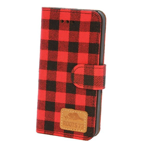 Roots 73 Plaid Folio Case for iPhone 7 - Red/Black - RPLDIP7R