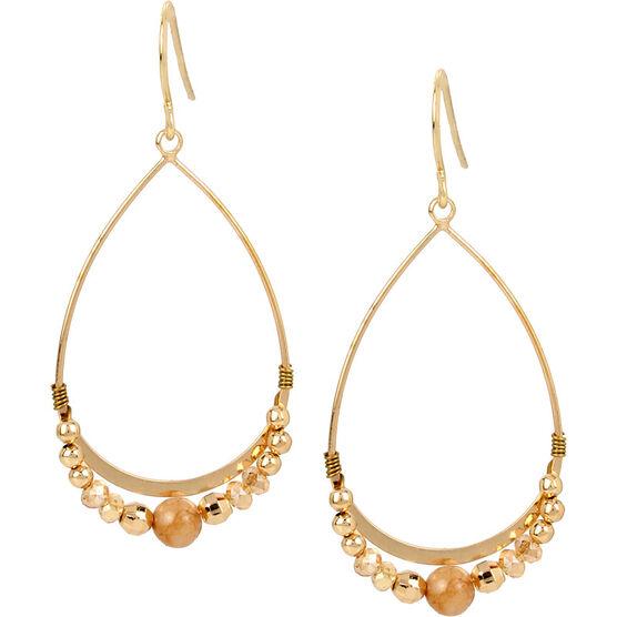 Haskell Beaded Teardrop Earrings - Neutral/Gold