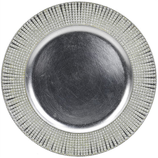 London Home Charger Plate with Gems - Silver - 13inch