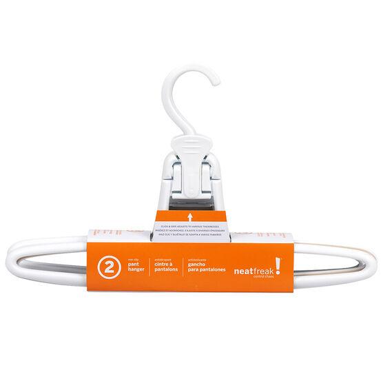 NeatFreak Click & Grip Non-Slip Pant Hanger - White - 2 pack