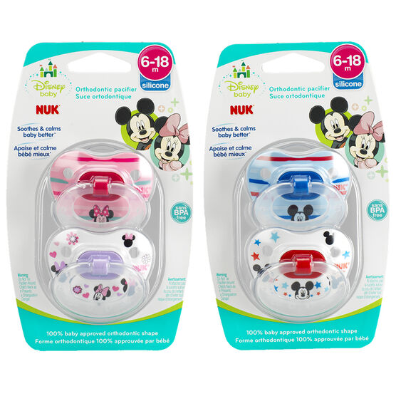 Nuk Mickey Mouse and Minnie Mouse Orthodontic Pacifier - Assorted - Size 2 / 2 pack