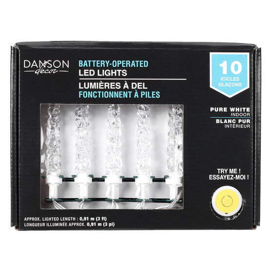 Danson Battery-Operated LED Icicle Light Set - 4.6in - Pure White - X78008MOD