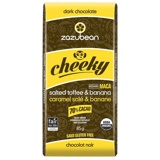 Zazubean Cheeky Dark Chocolate Bar - Salted Toffee and Banana - 85g