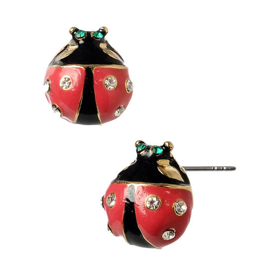 Betsey Johnson Ladybug Stud Earrings - Black & Red