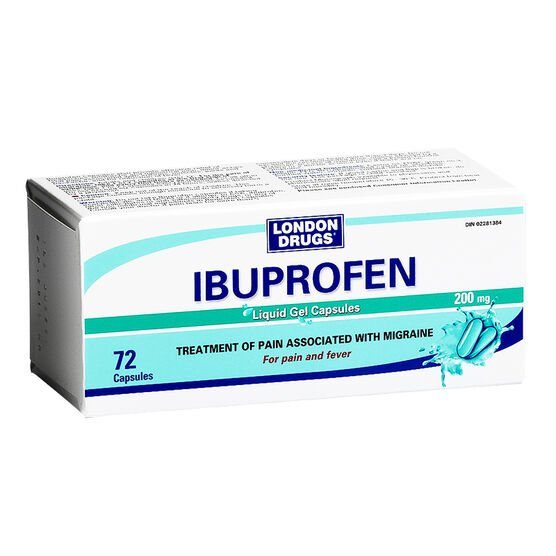 London Drugs Ibuprofen 200mg - 72 liquid gel capsules