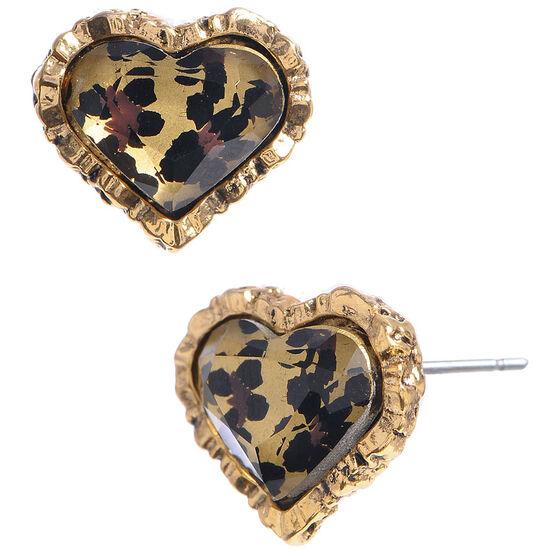Betsey Johnson Leopard Heart Stud Earrings