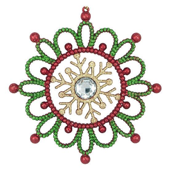 Tartan Time Fancy Snowflake Ornament - 5in