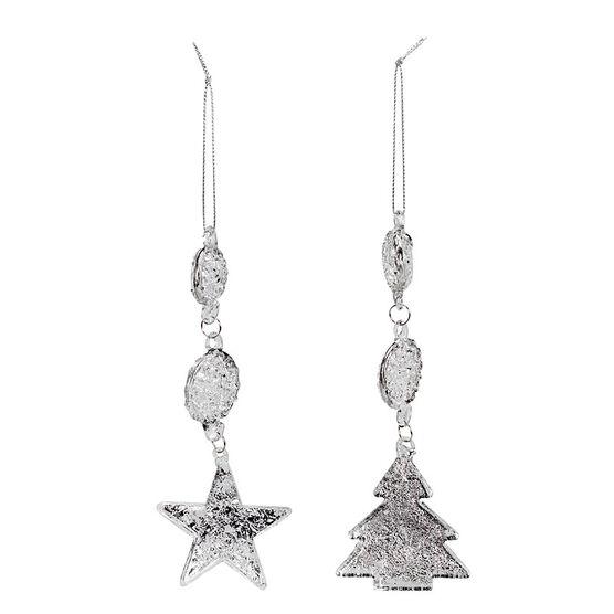 Polar Ice Tree Star with Tassel Ornament - 15.5cm - 2pk