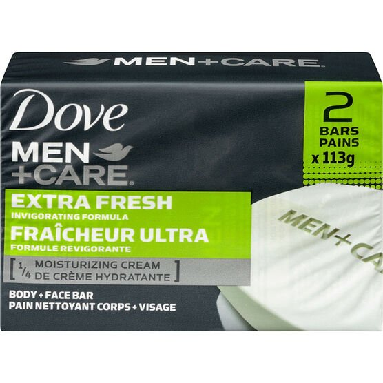 Dove Men +Care Extra Fresh Invigorating Formula Body & Face Bar - 2 x 113g