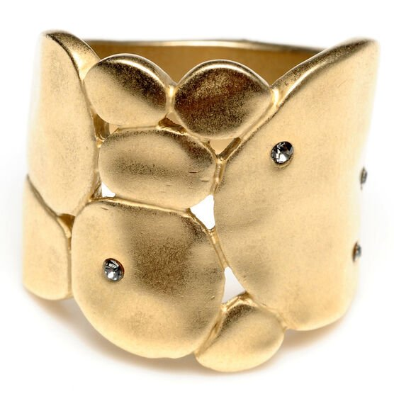 Kenneth Cole Hammered Circles Ring - Gold Tone