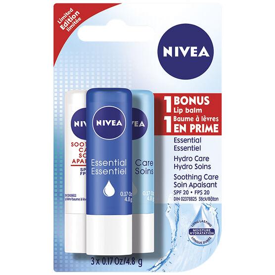 Nivea Lip Care Lip Balm - 3 x 4.8g