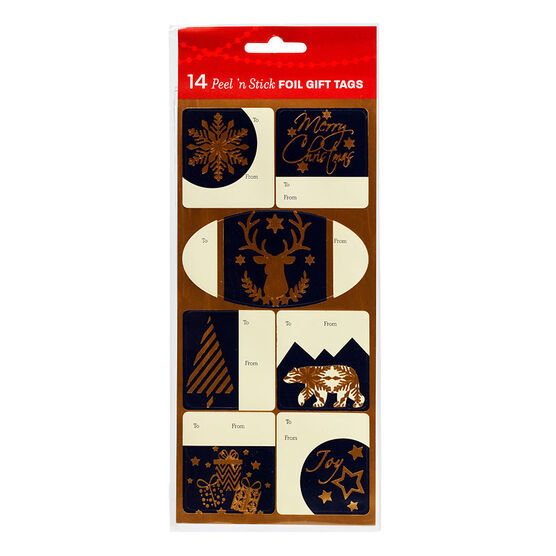 Christmas Peel N Stick Tags - Assorted