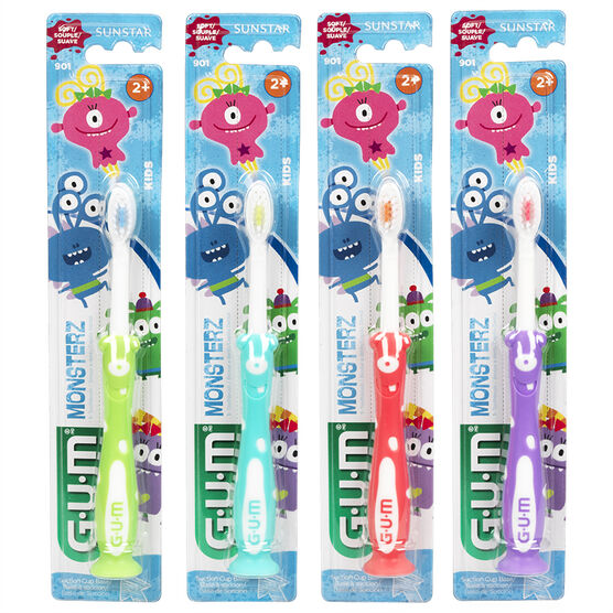 G.U.M. Kids Monsterz Manual Toothbrush Assorted - Soft - 3's