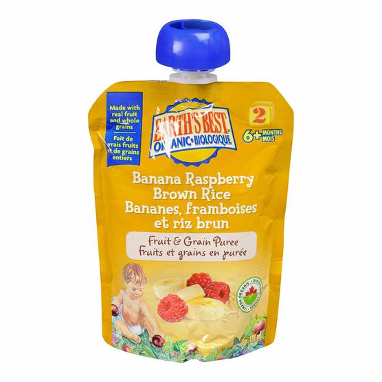 Earth's Best Infant Puree Pouch- Banana, Raspberry and Brown Rice - 128 ml