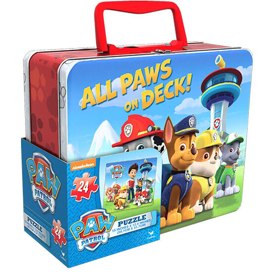 Paw Patrol Tin Box with Puzzle - Assorted
