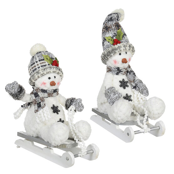 Winter Wishes Snowman on Sled - 11in - Assorted