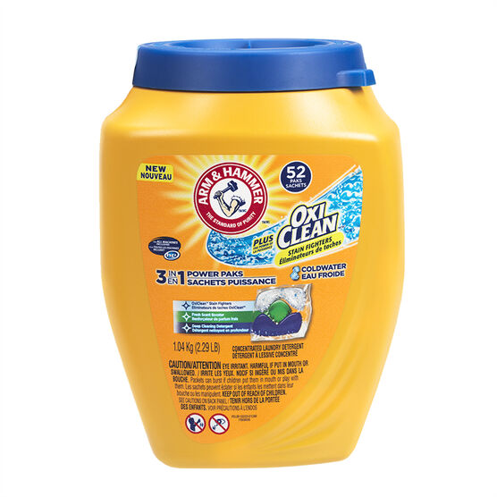 Arm & Hammer 3-in-1 Power Paks Laundry Detergent - Coldwater - 52's