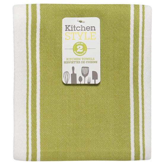 Kitchen Style Stripe Teatowel - Green - 2 pack
