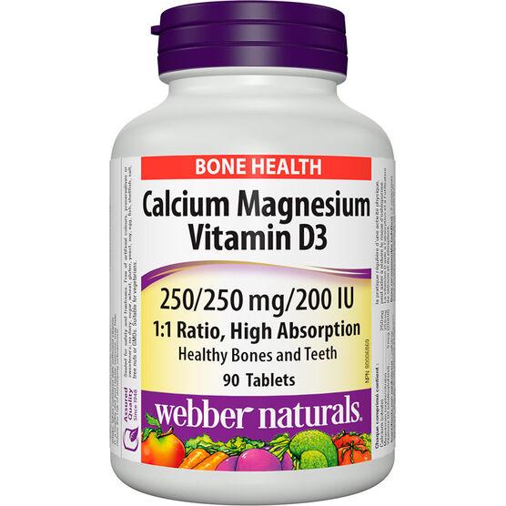 Webber Naturals Calcium Magnesium with D3 - 250mg/250mg/200IU - 90's