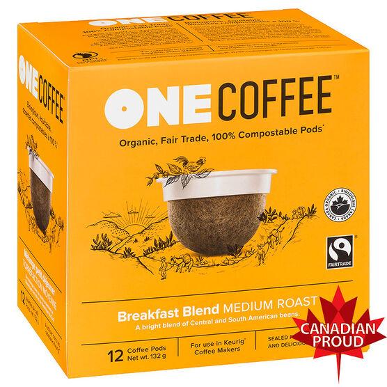 One Coffee Organic Single Serve Coffee Pods - Breakfast Blend - 12's