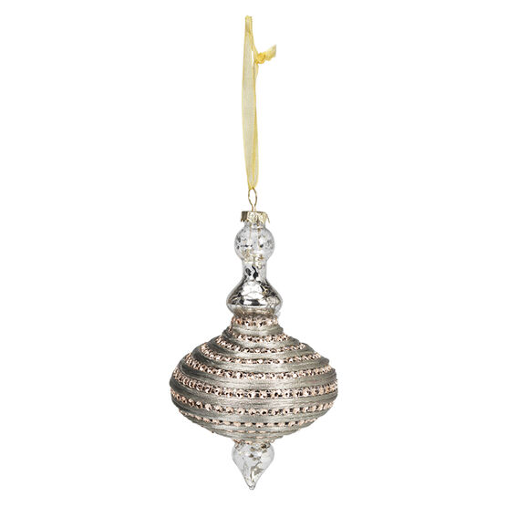 Rose Gold Beaded Finial Ornament - 6in