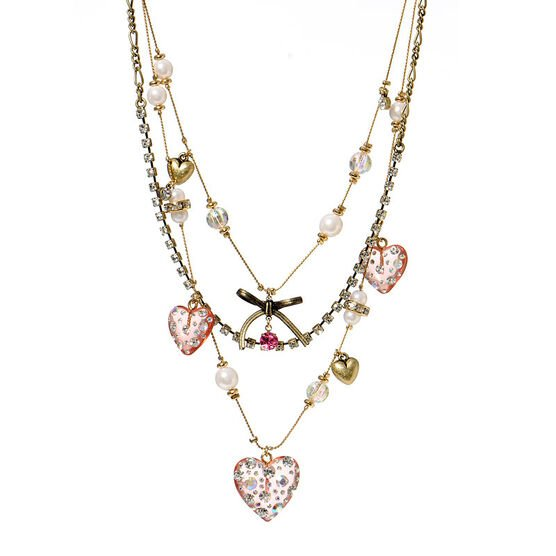 Betsey Johnson Pearl Heart Necklace - Gold Tone
