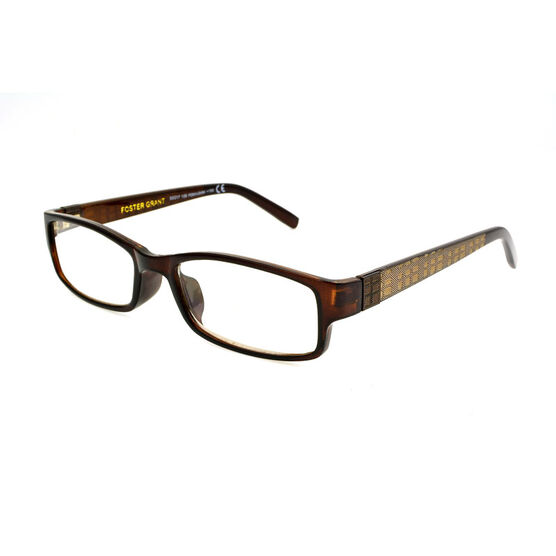 Foster Grant Derick Reading Glasses with Case - Brown/Gold - 1.75