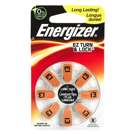 Energizer Lock & Turn Hearing Aid Batteries - AZ13DP-8 - 8 pack