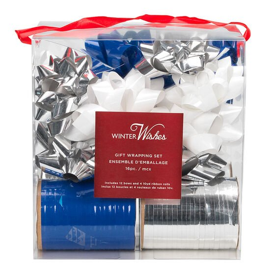 Winter Wishes Bow & Ribbon Set - Silver/White - 16 piece