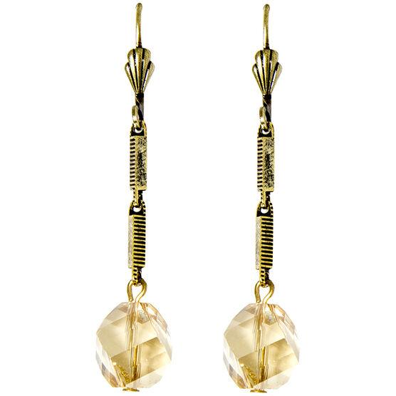 Anne Koplik Brass Chain with Crystal Golden Shadow Bead Earrings