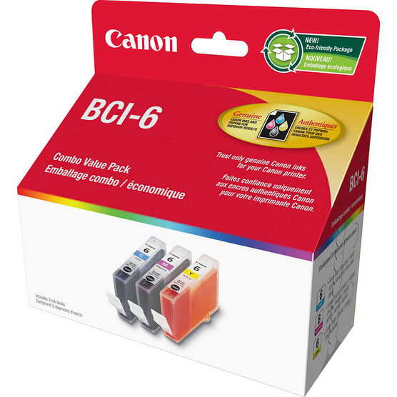 Canon BCI-6 Tri Value Pack Ink Cartridge - Colour - 3 Pack - 4706A016
