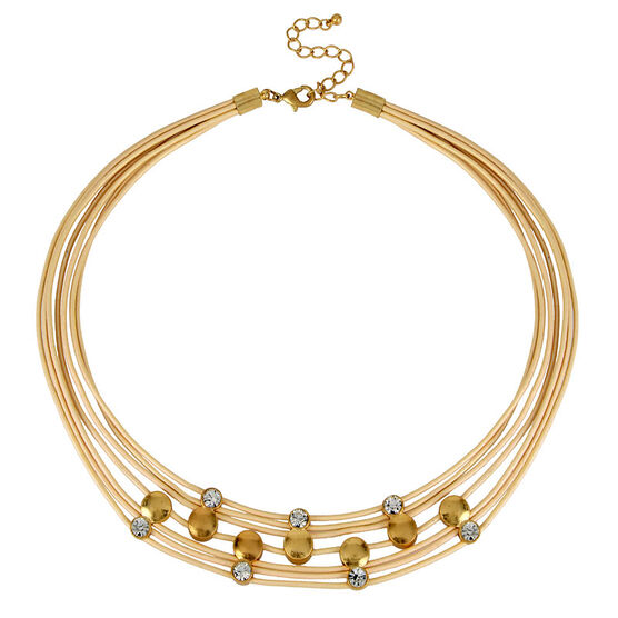 Haskell Leather Crystal Necklace - Beige/Gold