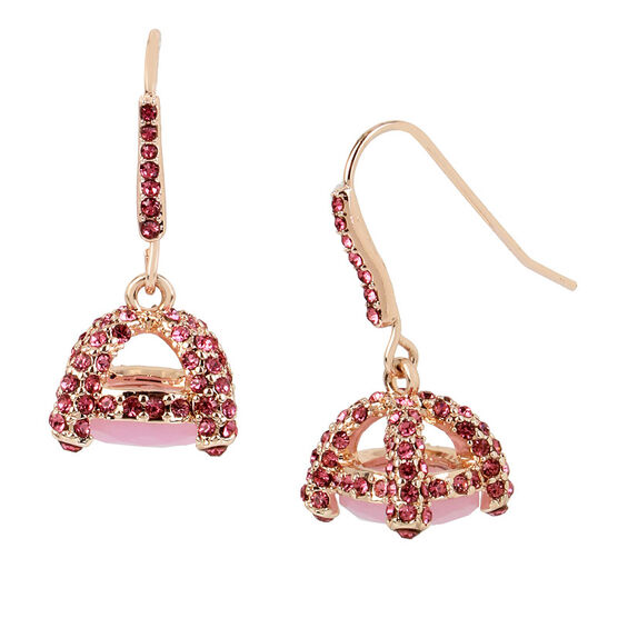 Betsey Johnson Stone Drop Earrings - Rosegold