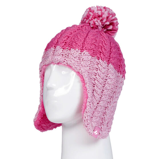 Heat Holders Girls Cozy Ears Hat with Pom Pom - Pink/Cream