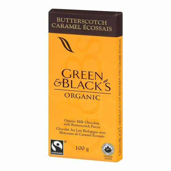 Green & Blacks Organic Chocolate Bar - Milk Chocolate with Butterscotch - 100g