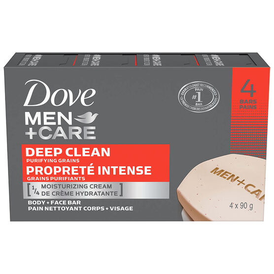 Dove Men+Care Purifying Grains Body + Face Bars - Deep Clean - 4 x 90g