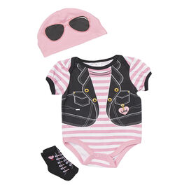 Baby Mode Fashion Vest 3-Piece Onesie Set - 7757 - Assorted