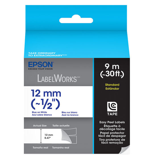 "Epson Blue on White Easy Peel Label 1/2"" - 12mm x 9m"