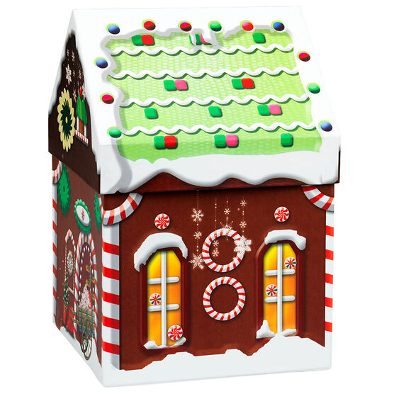 Gingerbread House Box - 6.5 x 6.5 x 9.5in