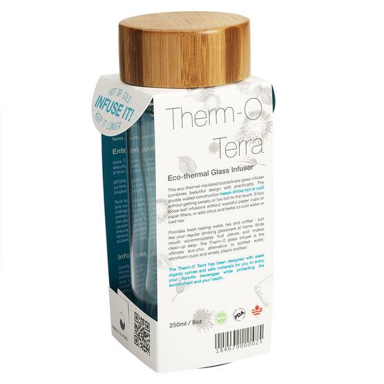 Aquaovo Thermo Terra Infuser Glass Bottle - Bamboo - 250ml