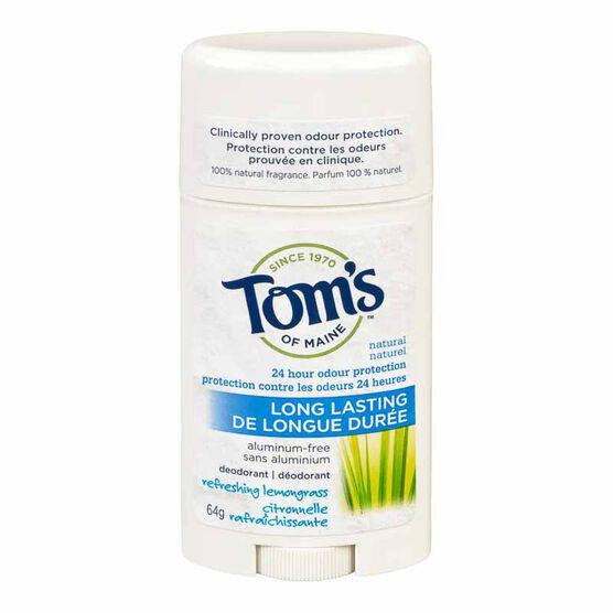 Tom's of Maine Natural Long Lasting Deodorant - Lemongrass - 64g