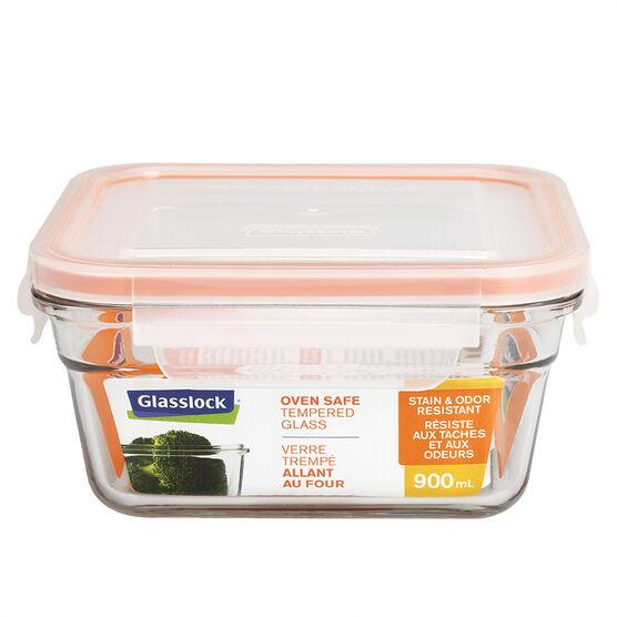 Glasslock Square Oven Safe - Orange - 900ml
