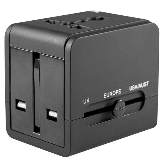 Logiix World Travel Adapter with Dual USB Charger - Black - LGX12160