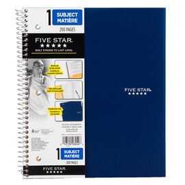 Mead Five Star One Subject Notebook - 11 x 8.5 inch - 200 pages - Assorted Colours