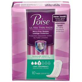 Poise Ultra Thin Pads Regular Length - Light Absorbency - 10's