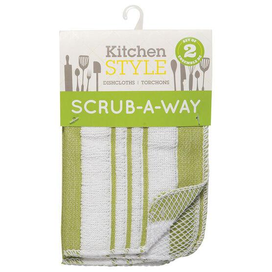 Kitchen Style Scrub-A-Way Dishcloths - Green - 2 pack