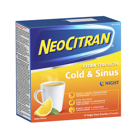 NeoCitran Extra Strength Cold & Sinus Night - Lemon - 10's
