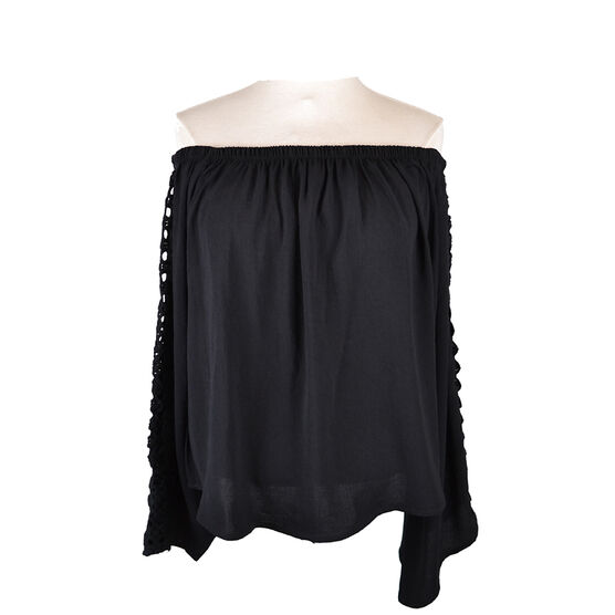 Lava Blouse with Lace Sleeves - Black