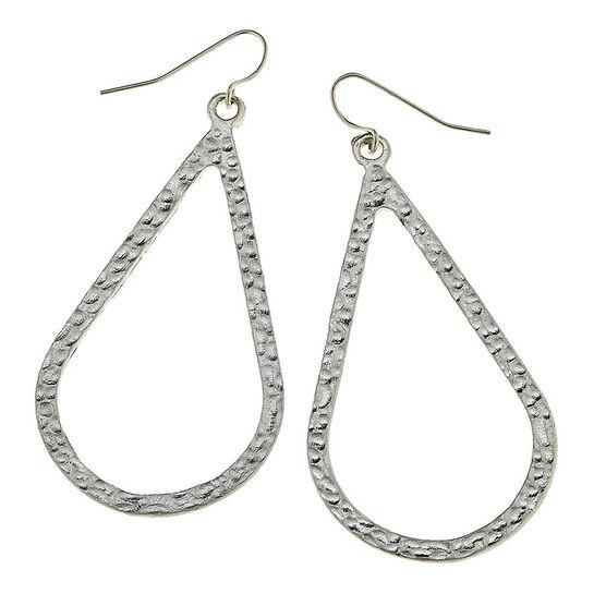 Canvas Teardrop Earrings - Silver