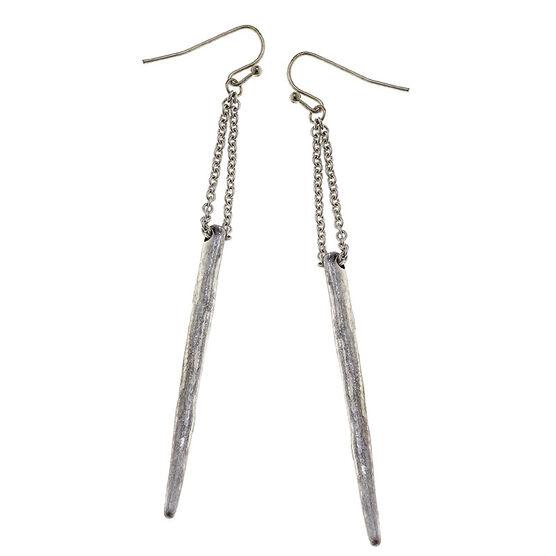 Canvas Spear Earrings - Silver